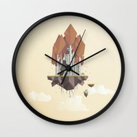low poly Wall Clocks featuring Low Poly Autumn Bear by scarriebarrie