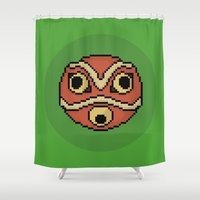 princess mononoke Shower Curtains featuring Pixel Princess Mononoke Mask by Rory-Mackenzie
