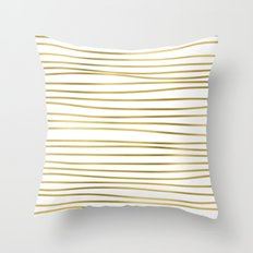 Small uneven gold glitter stripes on clear white - horizontal pattern on #Society6 Throw Pillow