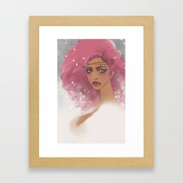 pink hair Framed Art Print