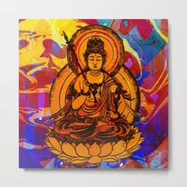 Abstract Marble Colorful Pattern Yellow Buddha Illustration Metal Print