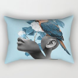 Girl with parrot Rectangular Pillow