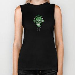 Green DJ Sugar Skull with Headphones Biker Tank