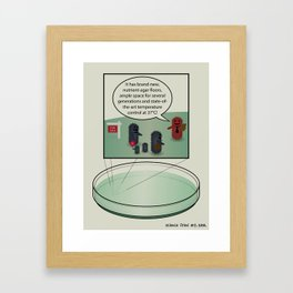 Bacteria family looking for home Framed Art Print