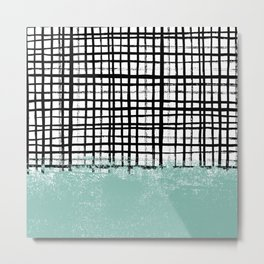 Mila - handpainted grid lines crosshatch weave with mint sage stripe minimalist nursery Metal Print
