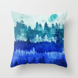The Blue Forest Moon Throw Pillow