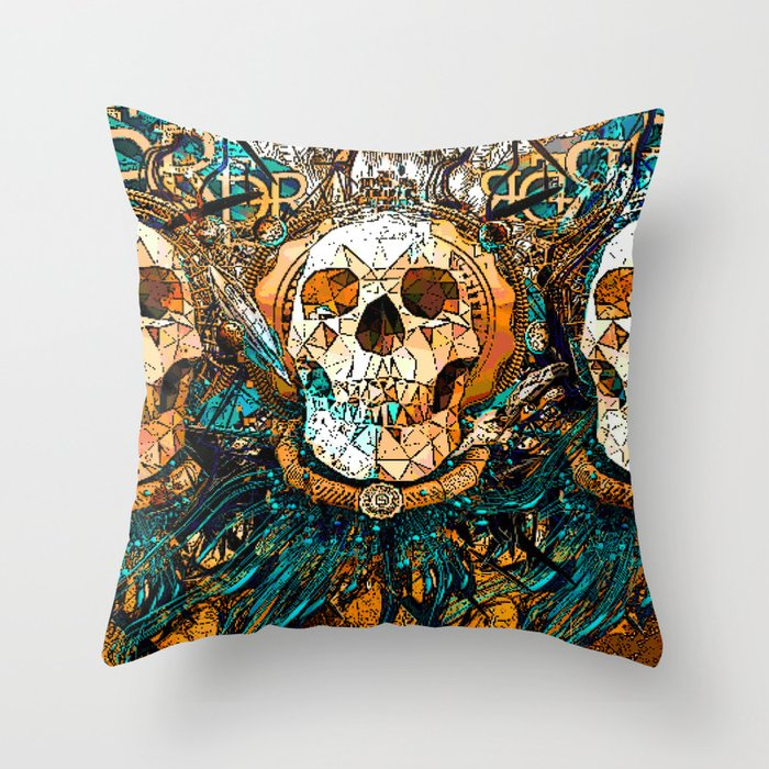 Old Skull Throw Pillow