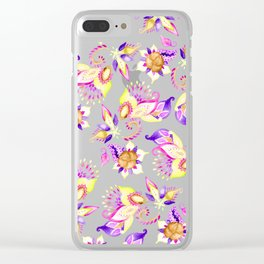 Modern yellow purple hand painted floral paisley pattern Clear iPhone Case
