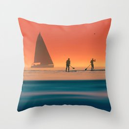 Stand up Paddle Summer Sunset Vibes Throw Pillow