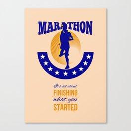 Marathon Runner Finishing Retro Poster Canvas Print