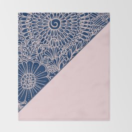 Blush pink navy blue hand drawn modern floral Throw Blanket