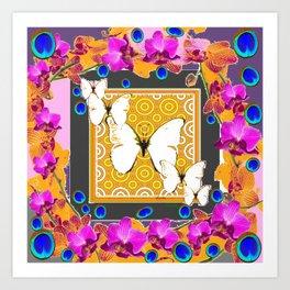 Golden Butterflies  Orchids & Blue  Peacock Eyrsd On Puce Art Art Print