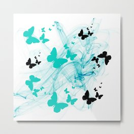 Abstract butterflys Teal and black Metal Print