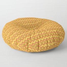 Orange Peel & Saffron Chevrons and Sprockets Floor Pillow