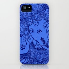 Ganesha Lineart Blue iPhone Case