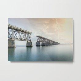 Bahia Honda Rail Bridge at Sunset Metal Print