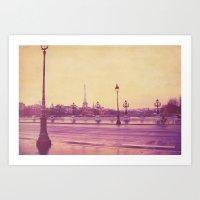 Art Print featuring Paris in the Rain by simbolique