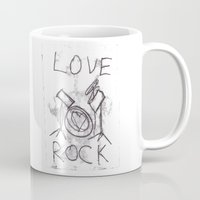 drums Mugs featuring Love Rock Drums by Louise Court