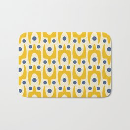 Mid Century Modern Abstract Pattern 641 Yellow and Blue Bath Mat