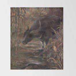 Vintage Water Buffalo Painting (1909) Throw Blanket