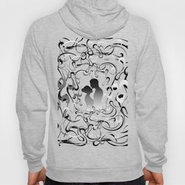 Boy's and girl's silhouettes with background Hoody
