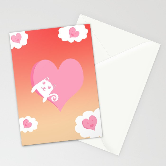 White Cat at Sunset  Stationery Cards