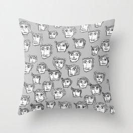 toomanyfaces -5- Throw Pillow