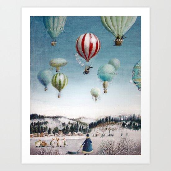 Ballooning over everywhere: Winter Art Print