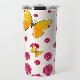 PINK HOLLYHOCKS & YELLOW BUTTERFLY LOVERS ART Travel Mug