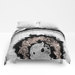Gray Black White Agate with Rose Gold Glitter #1 #gem #decor #art #society6 Comforters