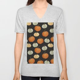 Orange yellow gray black watercolor pumpkin pattern Unisex V-Neck