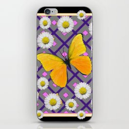 Yellow Butterfly on Black-grey Shasta Daisy Abstract Pattern iPhone Skin