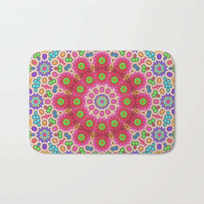 Brightly coloured kaleidoscope of abstract spring flowers Bath Mat