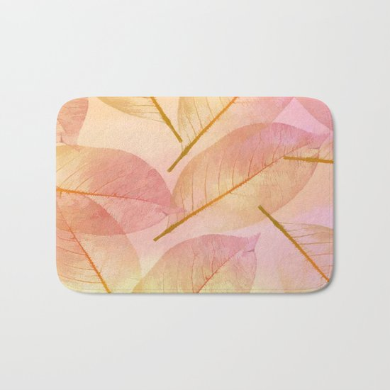 Pastel Fall Leaf Abstract Bath Mat