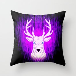 Patronus in the dark. Deer stag in glowing pink light. Throw Pillow
