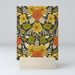 Modern Floral Pattern in Orange, Yellow, Green & Navy Mini Art Print