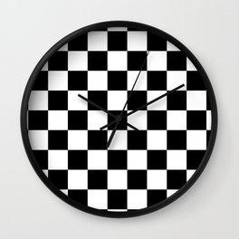 Chess blocks - race pattern black and white Wall Clock