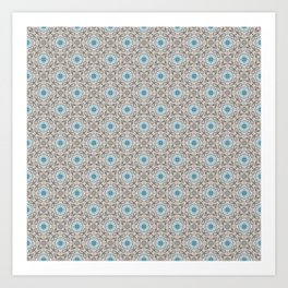 Blue and Gray Geometric - Star Pattern Art Print