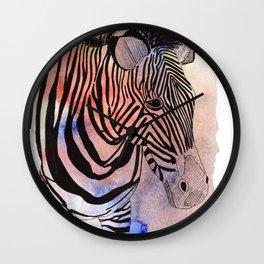 zebra in loose watercolors and ink Wall Clock