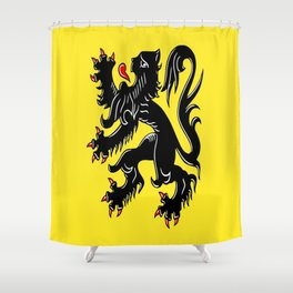 Flag of Flanders - Belgium,Belgian,vlaanderen,Vlaam,Oostende,Antwerpen,Gent,Beveren,Brussels,flamish Shower Curtain
