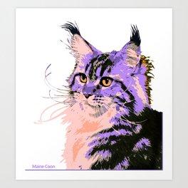 Maine Coon Cat Purple/Peach/Black Art Print