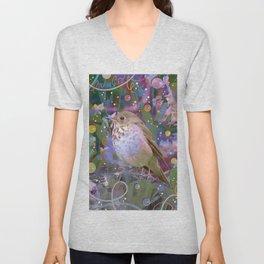 Magical Little Bird (Hermit Thrush) Unisex V-Neck