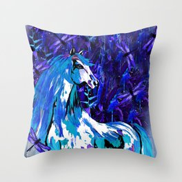 HORSE INDIGO BLUE AND DRAGONFLY NIGHTS Throw Pillow