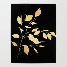 Gold & Black Leaves Poster