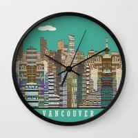 vancouver Wall Clocks featuring Vancouver skyline by bri.buckley