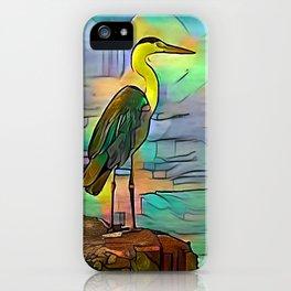 Grey heron on coast of ocean iPhone Case
