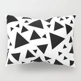 Memphis Milano style pattern with triangles, black and white triangle pattern print Pillow Sham