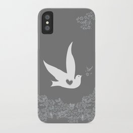 Love and Freedom - Silver/Gray iPhone Case