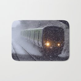 Train in the snow Bath Mat