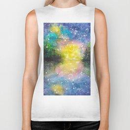 Crescent Moon Reflection Galaxy watercolor by CheyAnne Sexton Biker Tank